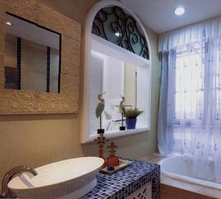92平地中海两居室欣赏卫生间窗帘
