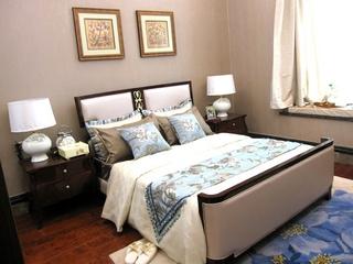 中式风效果图欣赏卧室照片墙