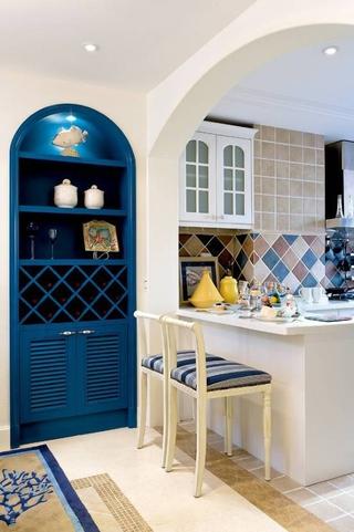 蓝白地中海住宅欣赏过道