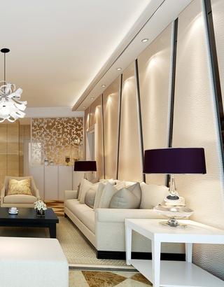 79平田园两居室欣赏客厅吊顶