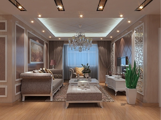 112平欧式风三居室欣赏客厅吊顶设计