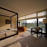 豪华现代风卧室落地窗户效果图