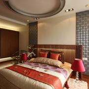 现代中式风卧室圆形吊顶效果图