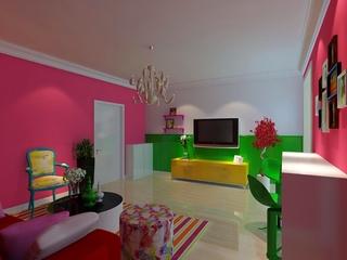 大胆用色简约公寓欣赏客厅效果