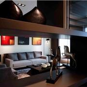 简约暗黑设计效果图欣赏客厅效果