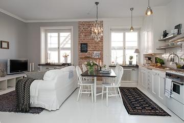 白色北欧42平公寓欣赏客厅全景