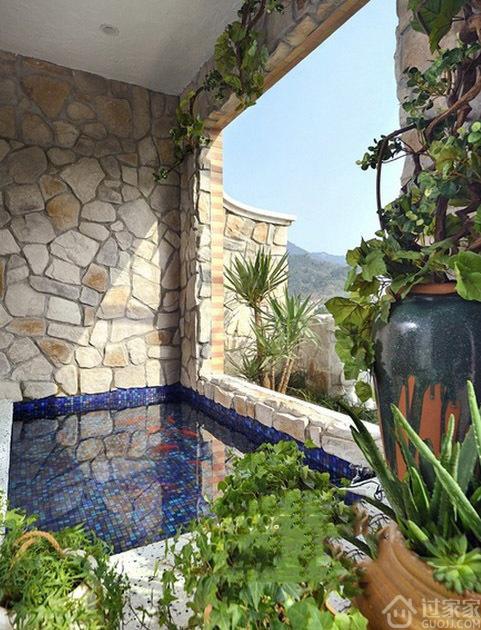 地中海风格复式,阳台改建个性游泳池