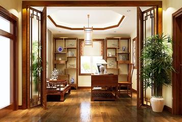 130平美式四居室欣赏书房吊顶