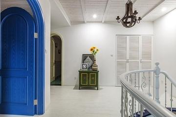 125平蓝白地中海住宅欣赏过道效果