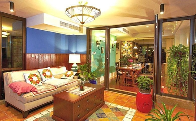 美式混搭风 多彩客厅灯饰效果图