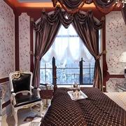 地中海风样板房主卧窗帘