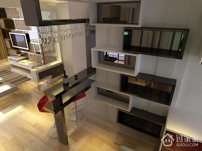 107平简约三居室设计欣赏厨房吧台