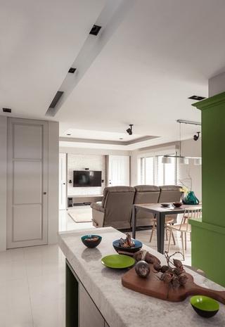 78平现代三居室欣赏厨房吧台