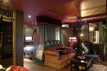 东南亚住宅风格卧室全景效果图设计