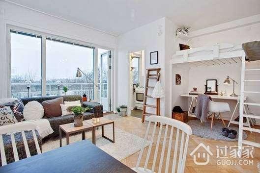 38平米单身女生公寓 阁楼床装修设计