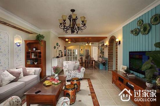146平米四室两厅美式田园装修 大爱砖砌2厘米高洗衣台
