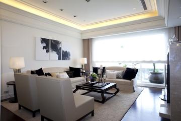 新古典三居室样板房案例欣赏客厅吊顶