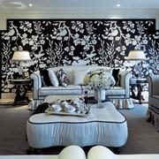 奢华新古典风沙发独特花背景墙