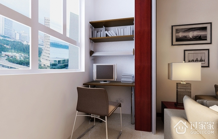 80平简约三居室欣赏阳台书架