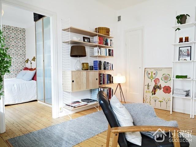 白色北欧小两居住宅欣赏客厅博古架