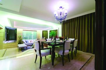 114平绿色简约三居欣赏餐厅设计图