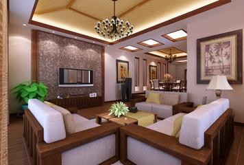 东南亚风住宅三居欣赏客厅背景墙
