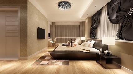 温馨家居 现代卧室黑色灯饰装饰图