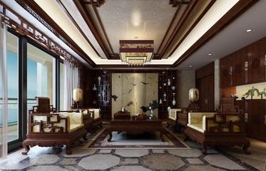 咖啡色中式住宅欣赏客厅