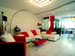 77平方米三室两厅绿色生活装修 红绿白多彩家居搭配统一而和谐
