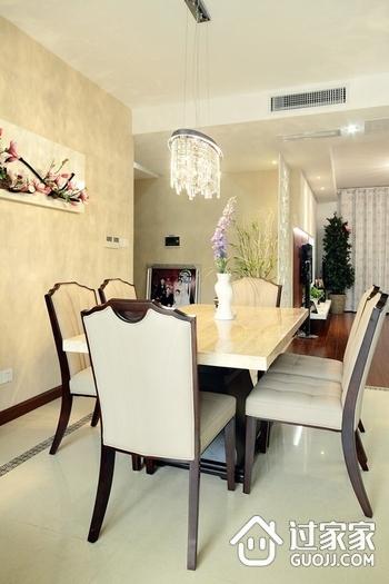 浪漫简约餐厅餐桌摆放图 和谐家居