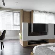 现代简约室内装修套图卧室电视墙