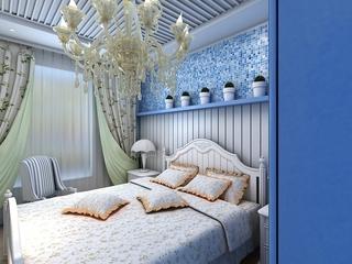 蓝色地中海家居案例欣赏卧室灯饰