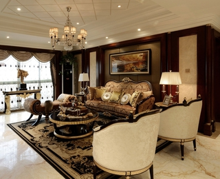 美式客厅吊顶装修效果图 典雅家居