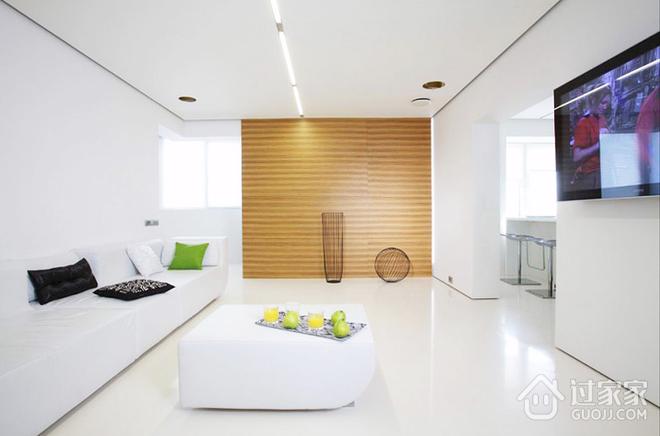 80平米当代极简公寓客厅全景_过家家装修效果图