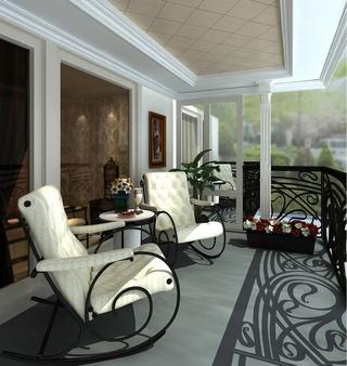 130平质感新古典住宅欣赏阳台