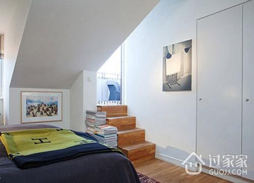 白色简约阁楼设计欣赏卧室局部