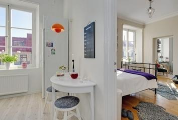 白色北欧两居室住宅欣赏餐厅灯具