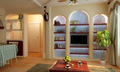 77平田园两居住宅欣赏客厅书架
