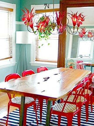 简约红色大三居欣赏餐厅