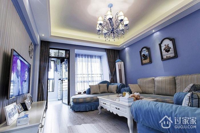 112平蓝色地中海住宅欣赏客厅电视柜