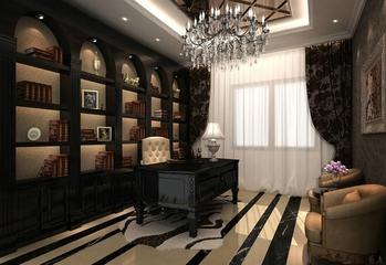 新古典四居室案例欣赏书房书架