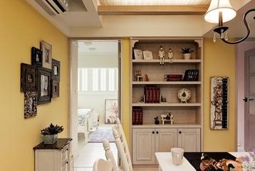 时尚的美式田园二居室餐厅照片墙设计