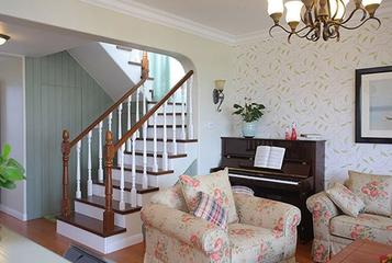 90平米田园风格复式楼欣赏楼梯间