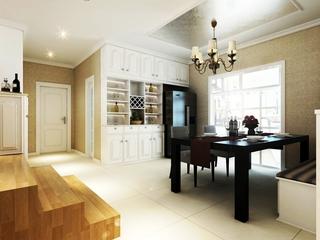 极致空间 精致美式餐厅酒柜装修效果图