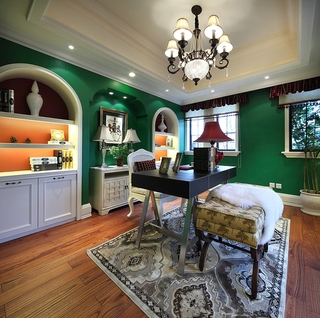 美式高品质住宅欣赏书房全景