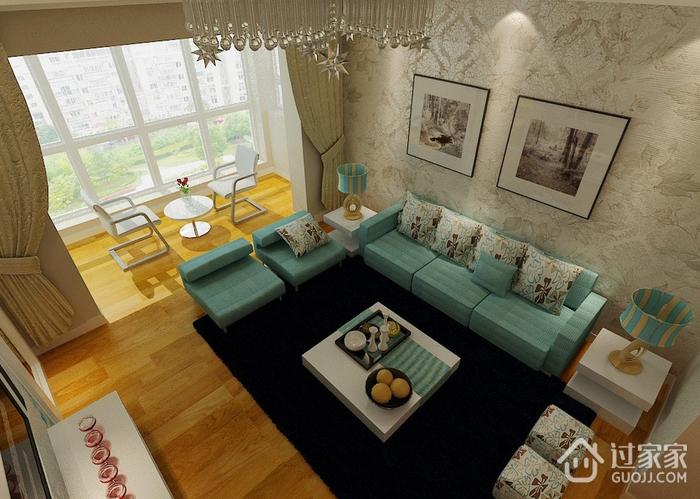 90平米简约两居室欣赏客厅窗帘