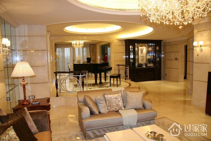 豪华欧式风格客厅钢琴效果图