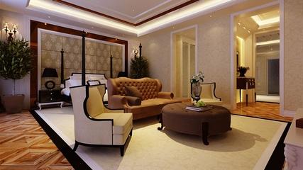 新古典风三居案例欣赏卧室背景墙