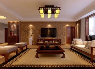 规整新中式两居室欣赏客厅背景墙