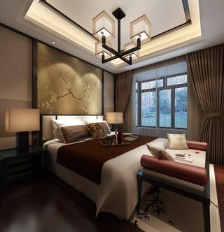 雅致中式风三居欣赏卧室吊顶设计